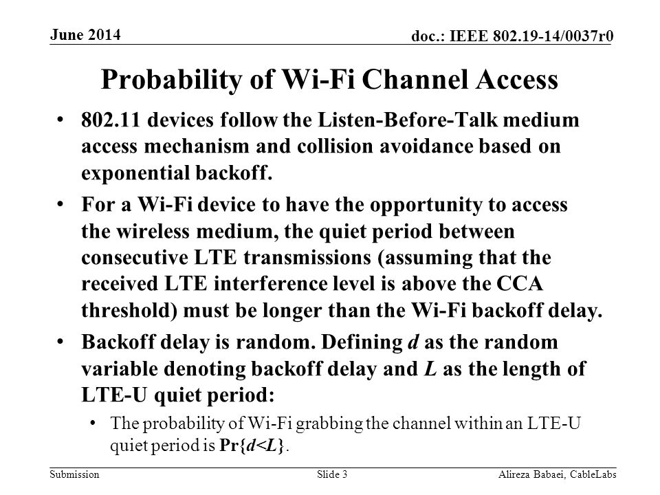 Probability of Wi-Fi Channel Access
