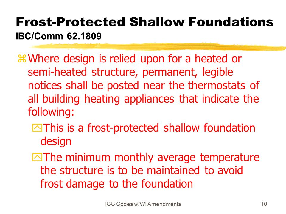 Frost-Protected Shallow Foundations IBC/Comm 62.1809