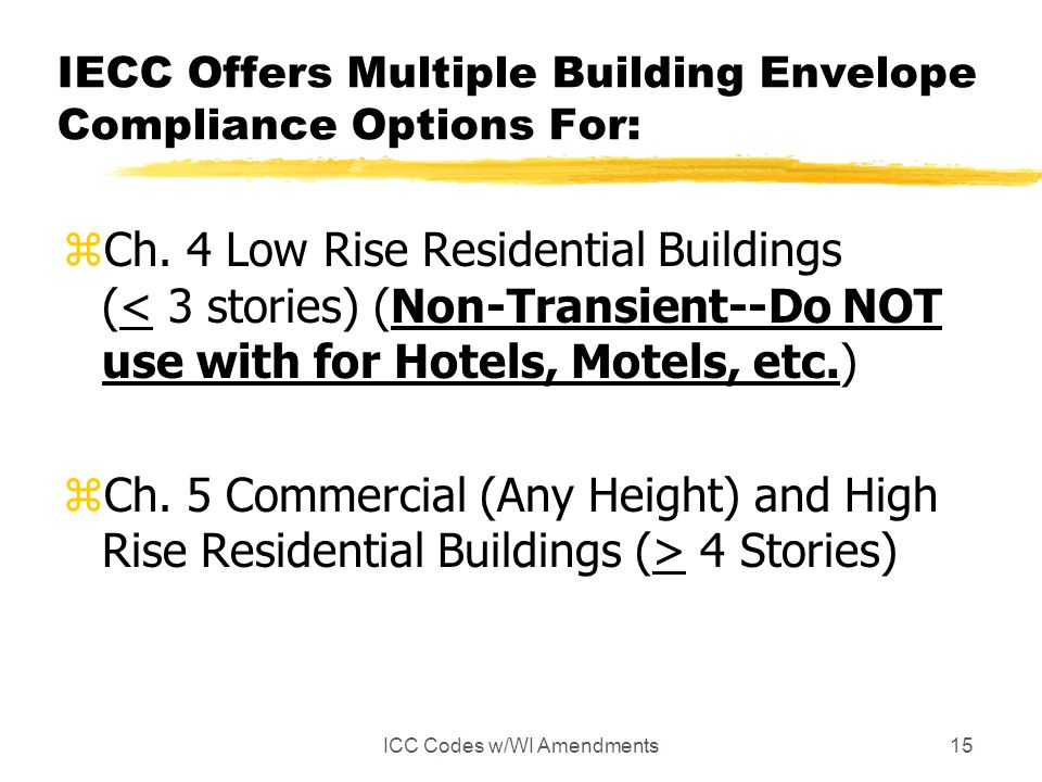 IECC Offers Multiple Building Envelope Compliance Options For: