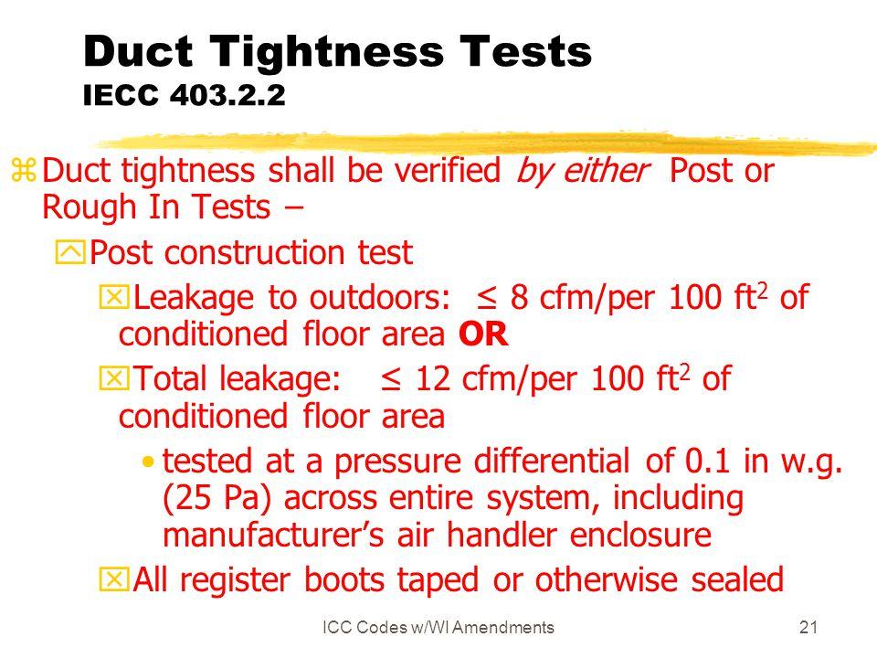 Duct Tightness Tests IECC 403.2.2