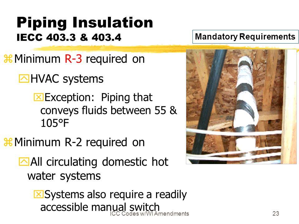 Piping Insulation IECC 403.3 & 403.4
