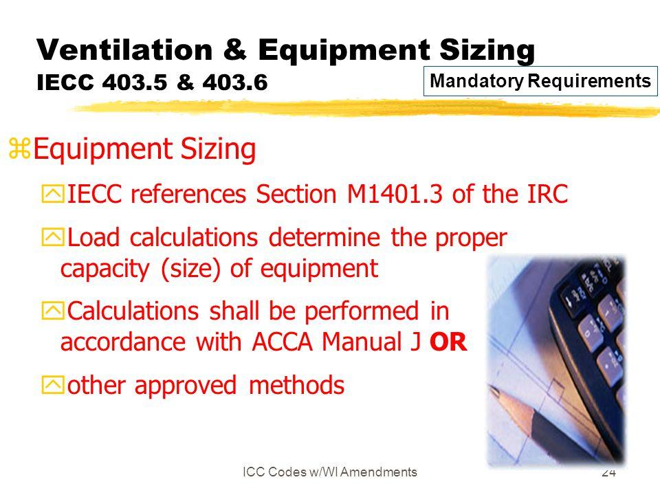 Ventilation & Equipment Sizing IECC 403.5 & 403.6