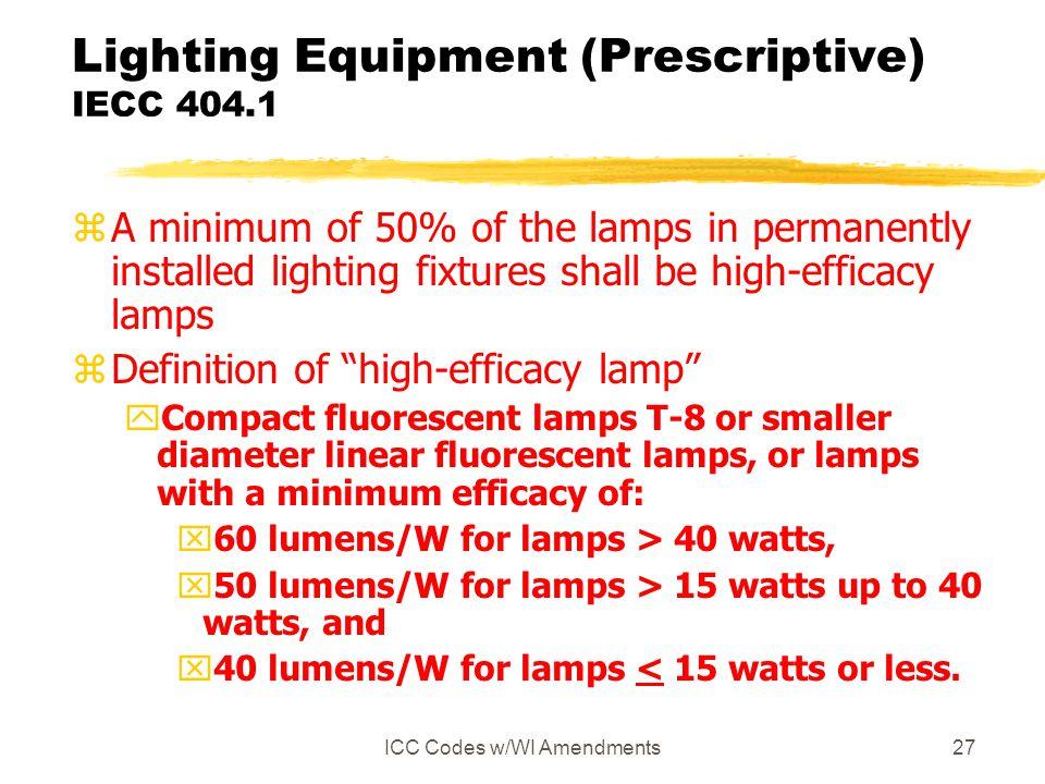 Lighting Equipment (Prescriptive) IECC 404.1