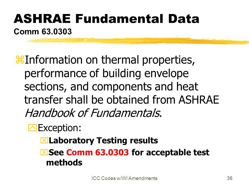 ASHRAE Fundamental Data Comm 63.0303