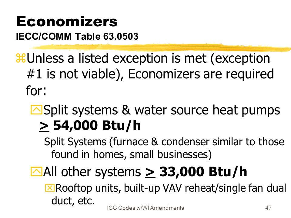 Economizers IECC/COMM Table 63.0503
