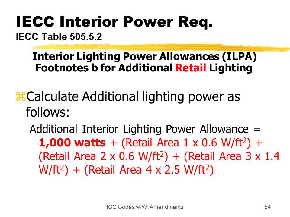 IECC Interior Power Req. IECC Table 505.5.2