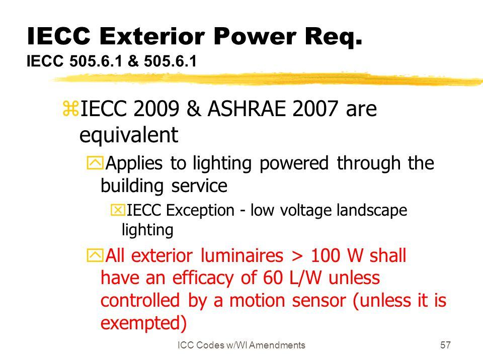 IECC Exterior Power Req. IECC 505.6.1 & 505.6.1