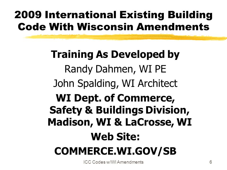 2009 International Existing Building Code With Wisconsin Amendments