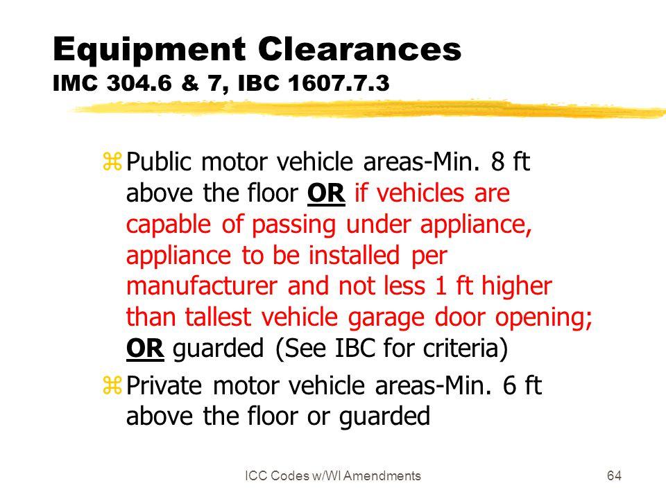 Equipment Clearances IMC 304.6 & 7, IBC 1607.7.3