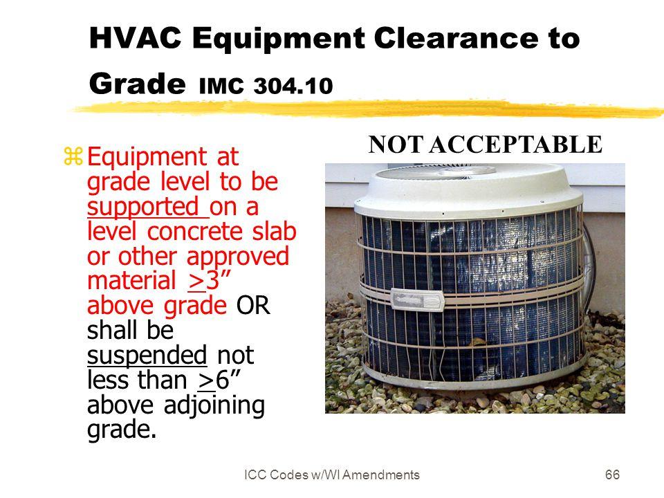 HVAC Equipment Clearance to Grade IMC 304.10