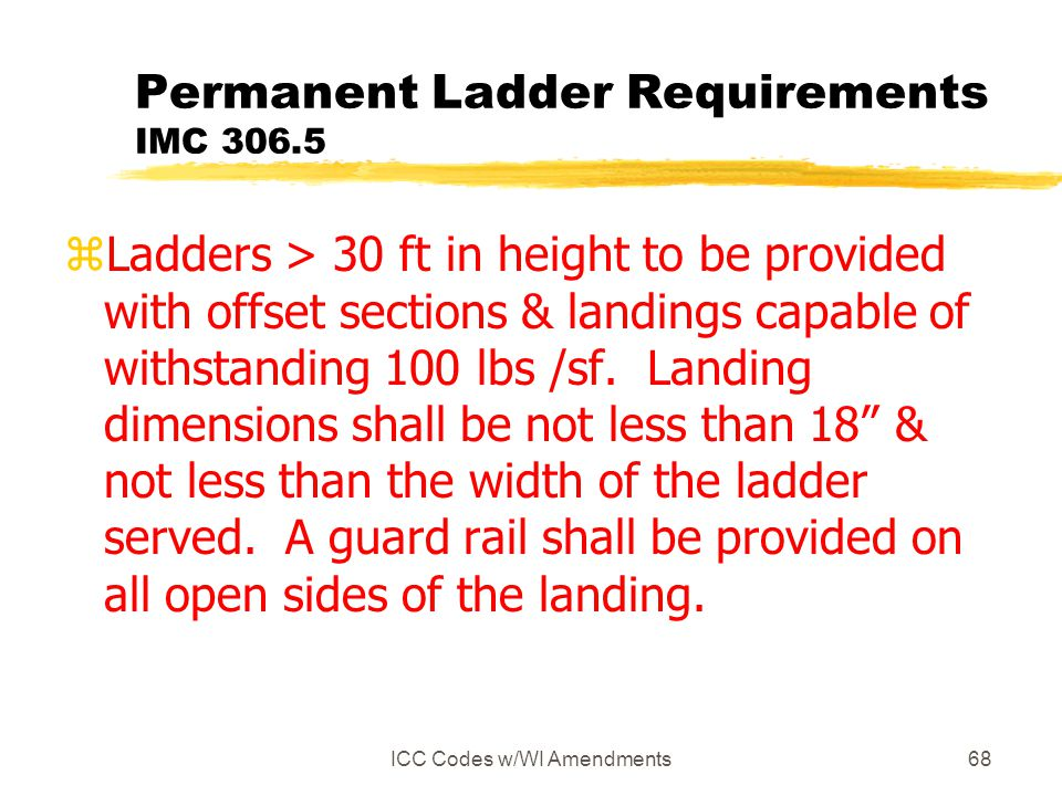 Permanent Ladder Requirements IMC 306.5