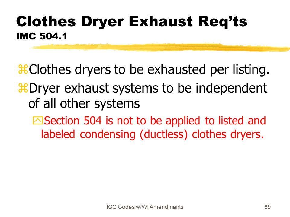 Clothes Dryer Exhaust Req'ts IMC 504.1
