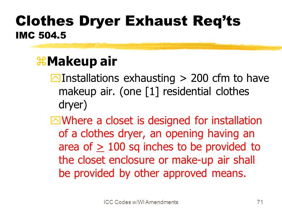 Clothes Dryer Exhaust Req'ts IMC 504.5