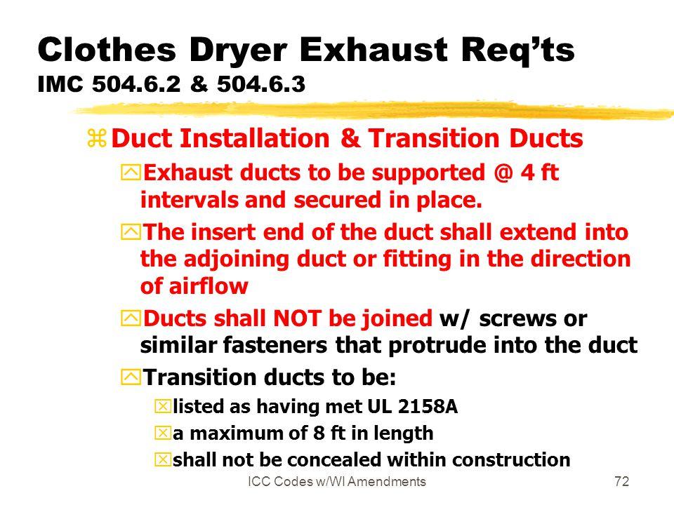 Clothes Dryer Exhaust Req'ts IMC 504.6.2 & 504.6.3
