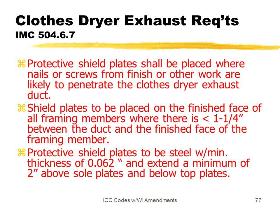 Clothes Dryer Exhaust Req'ts IMC 504.6.7