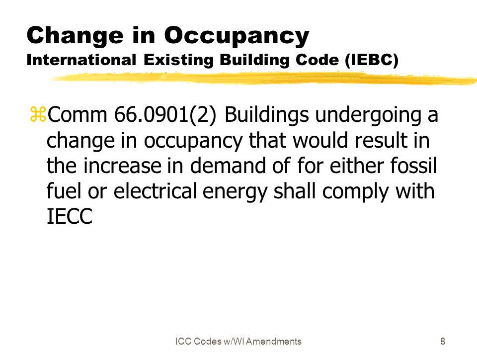 Change in Occupancy International Existing Building Code (IEBC)