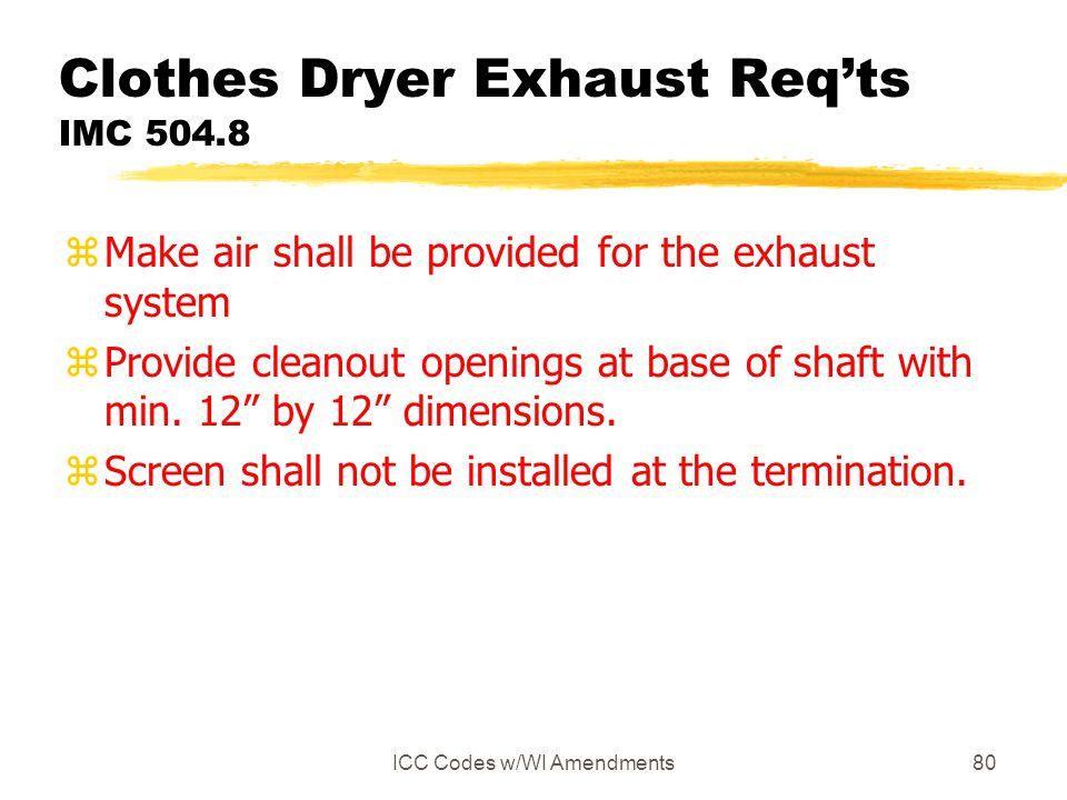 Clothes Dryer Exhaust Req'ts IMC 504.8