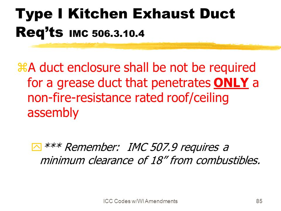 Type I Kitchen Exhaust Duct Req'ts IMC 506.3.10.4