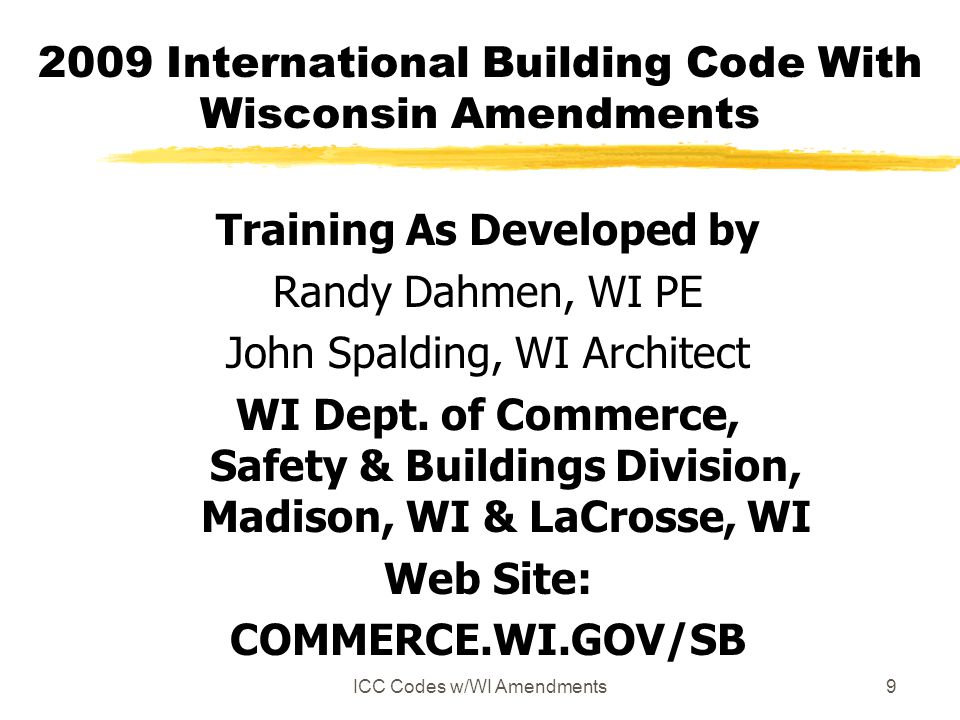 2009 International Building Code With Wisconsin Amendments