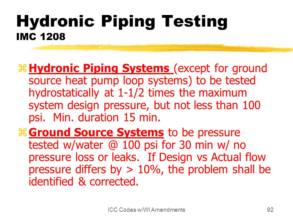 Hydronic Piping Testing IMC 1208