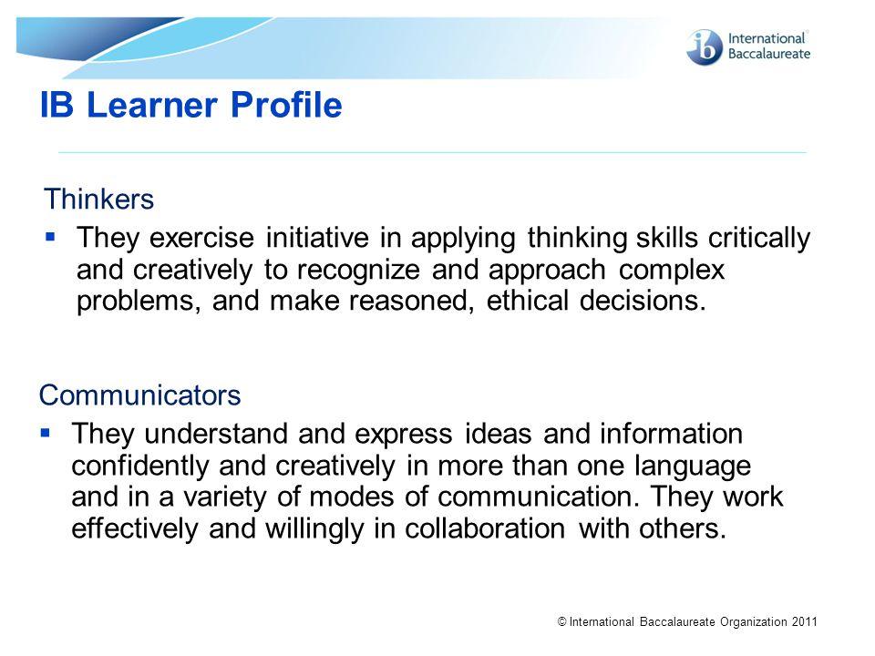 IB Learner Profile Thinkers
