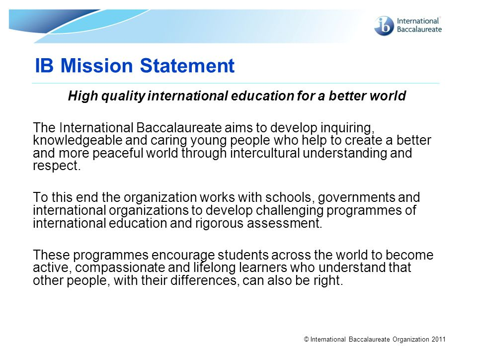 High quality international education for a better world