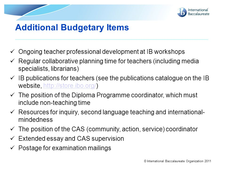 Additional Budgetary Items