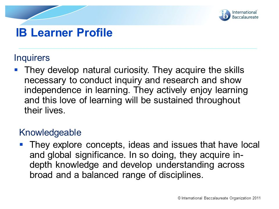 IB Learner Profile Inquirers