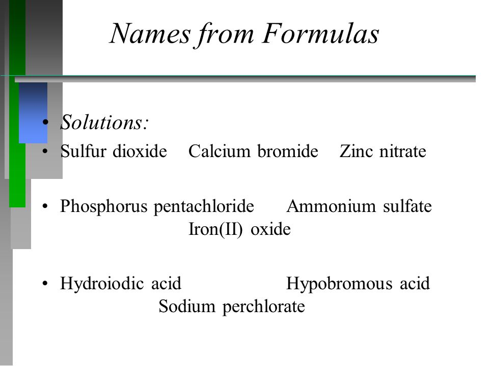 Names from Formulas Solutions: