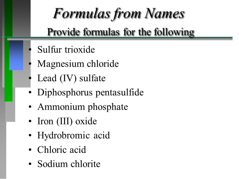 Formulas from Names Provide formulas for the following