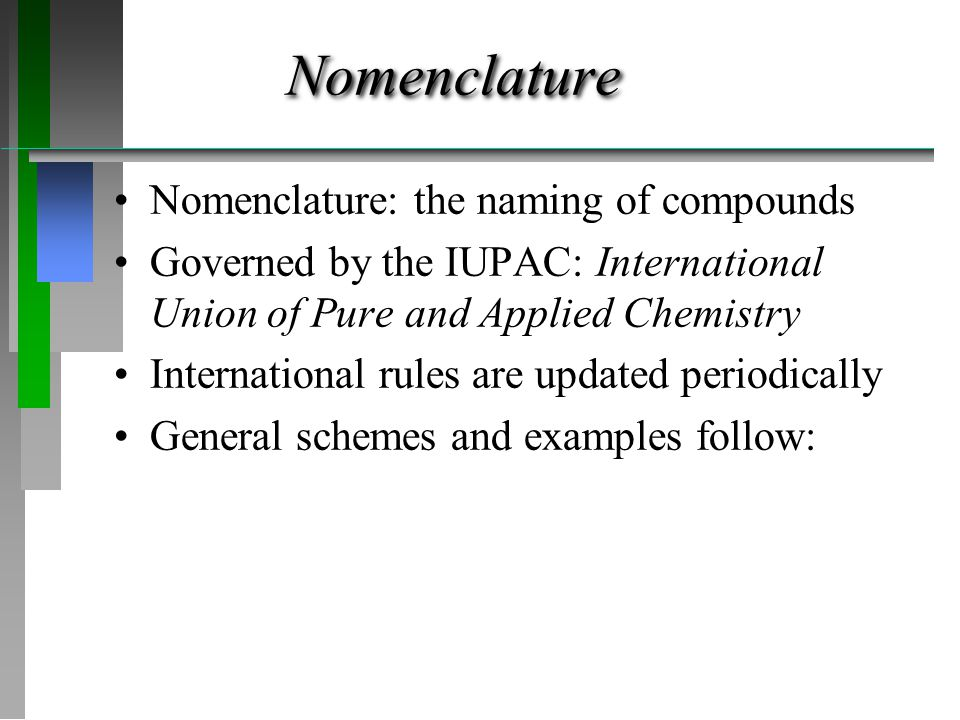 Nomenclature Nomenclature: the naming of compounds