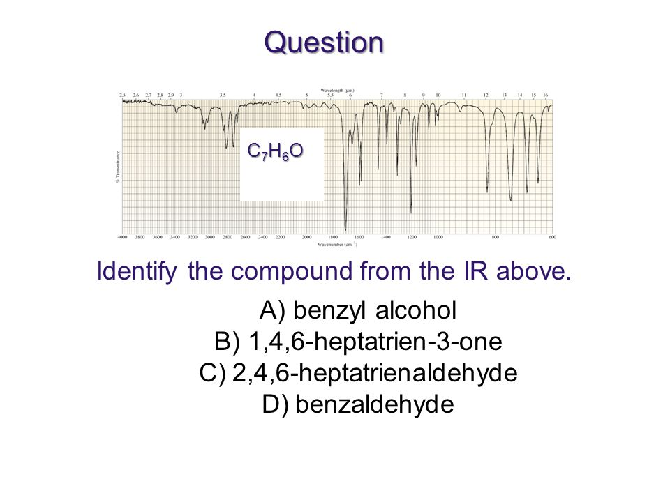 Question Identify the compound from the IR above. benzyl alcohol