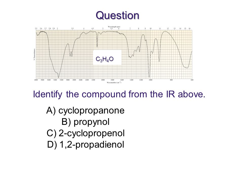 Question Identify the compound from the IR above. cyclopropanone