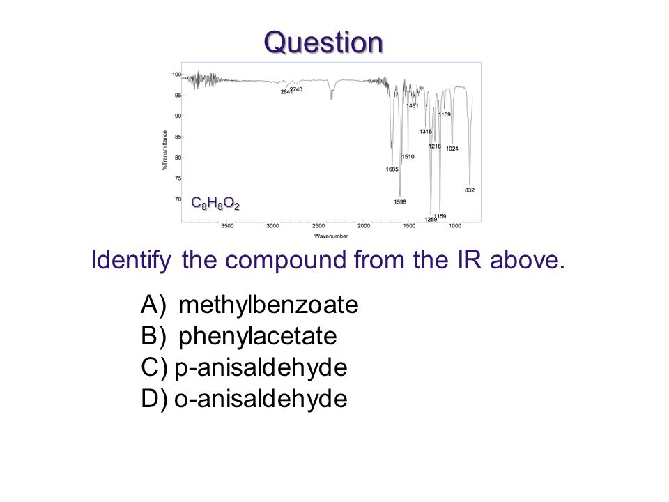 Question Identify the compound from the IR above. methylbenzoate