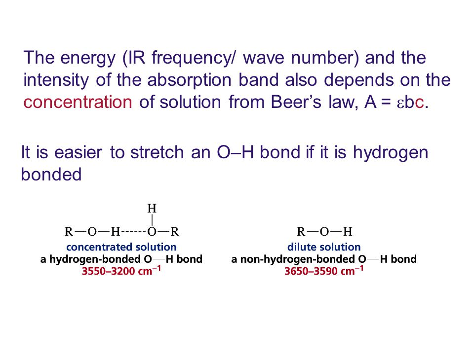 The energy (IR frequency/ wave number) and the intensity of the absorption band also depends on the concentration of solution from Beer's law, A = bc.