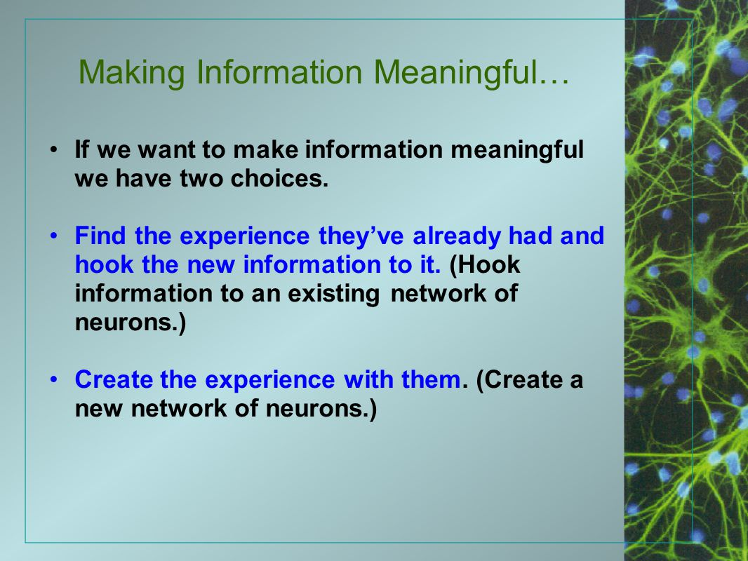 Making Information Meaningful…