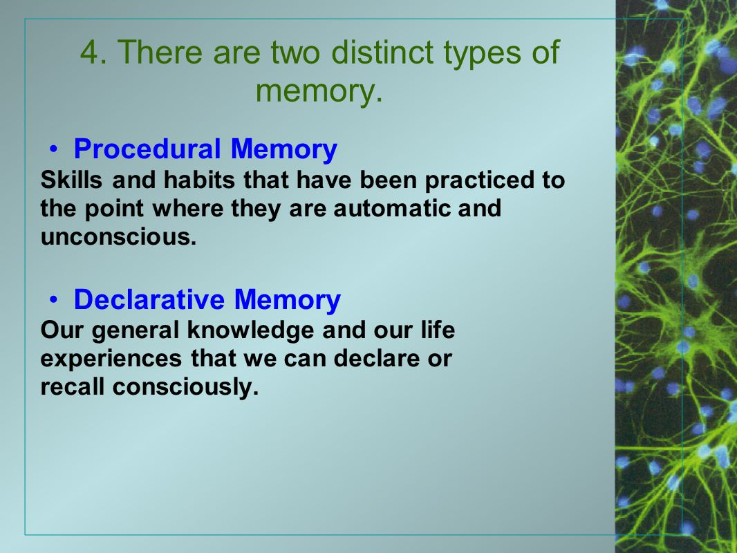 4. There are two distinct types of memory.
