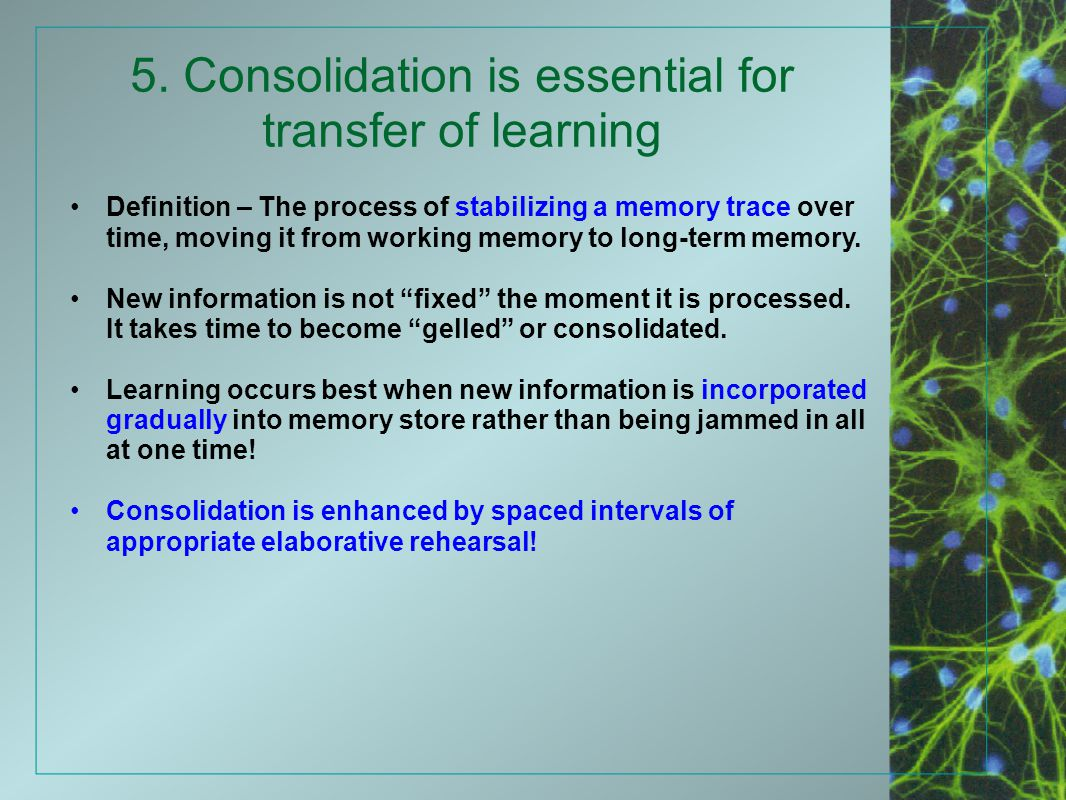5. Consolidation is essential for transfer of learning