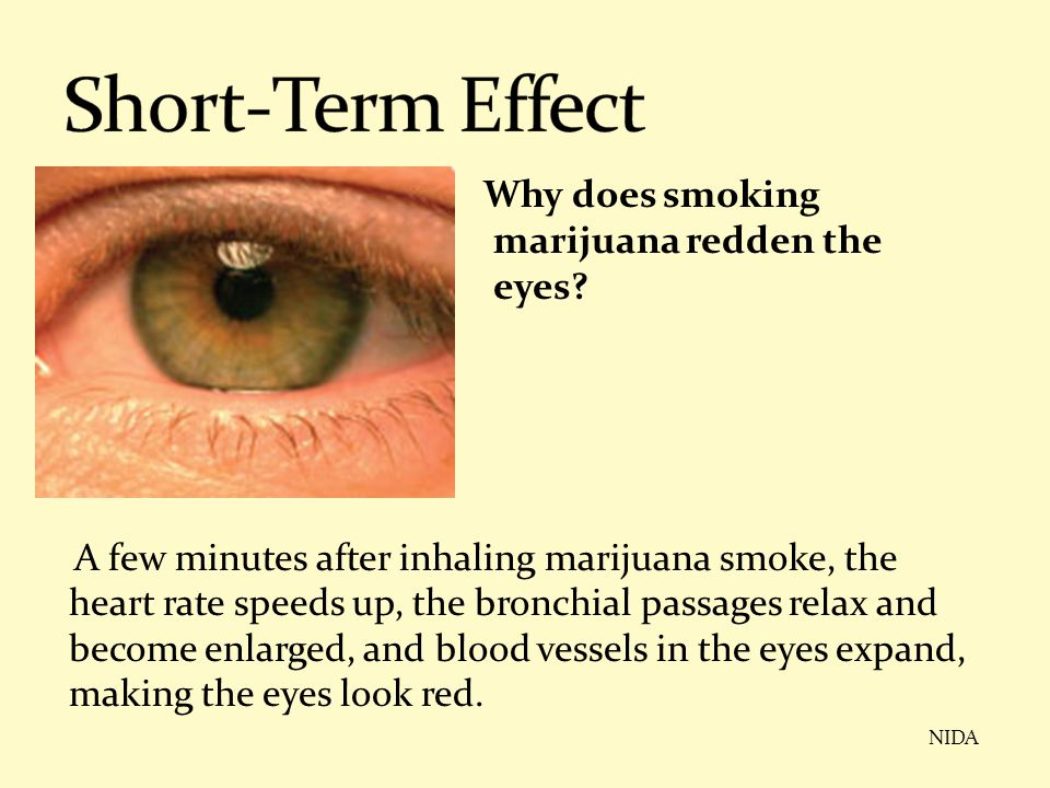 Short-Term Effect Why does smoking marijuana redden the eyes