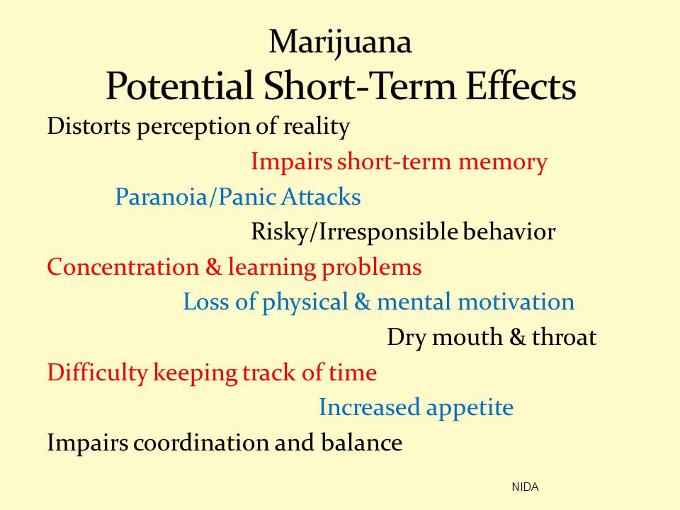Marijuana Potential Short-Term Effects