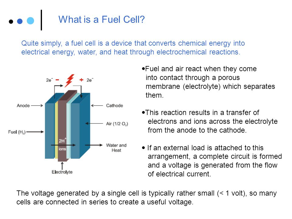 What is a Fuel Cell Quite simply, a fuel cell is a device that converts chemical energy into.