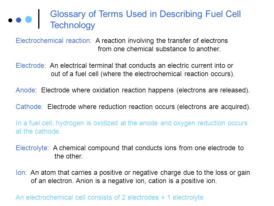 Glossary of Terms Used in Describing Fuel Cell Technology