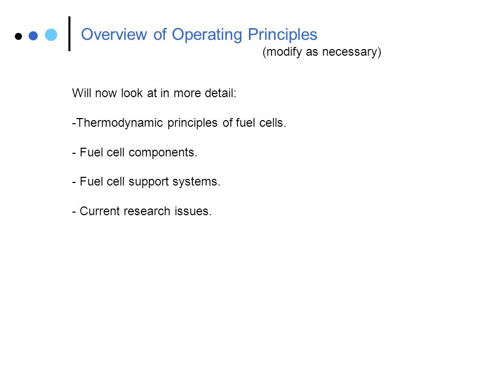 Overview of Operating Principles
