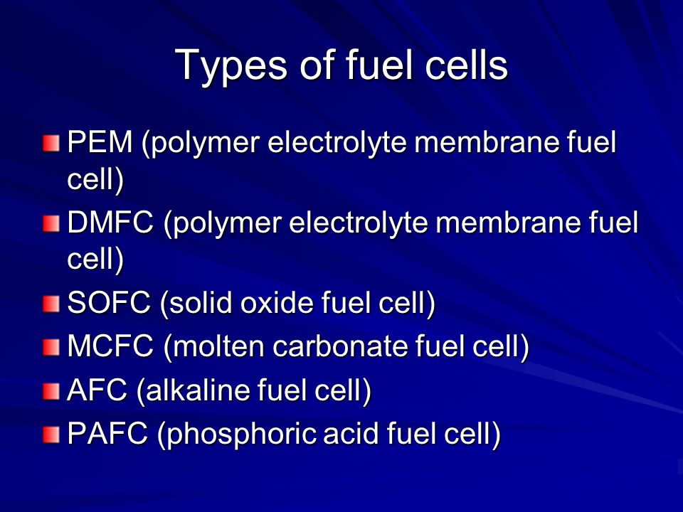 Types of fuel cells PEM (polymer electrolyte membrane fuel cell)