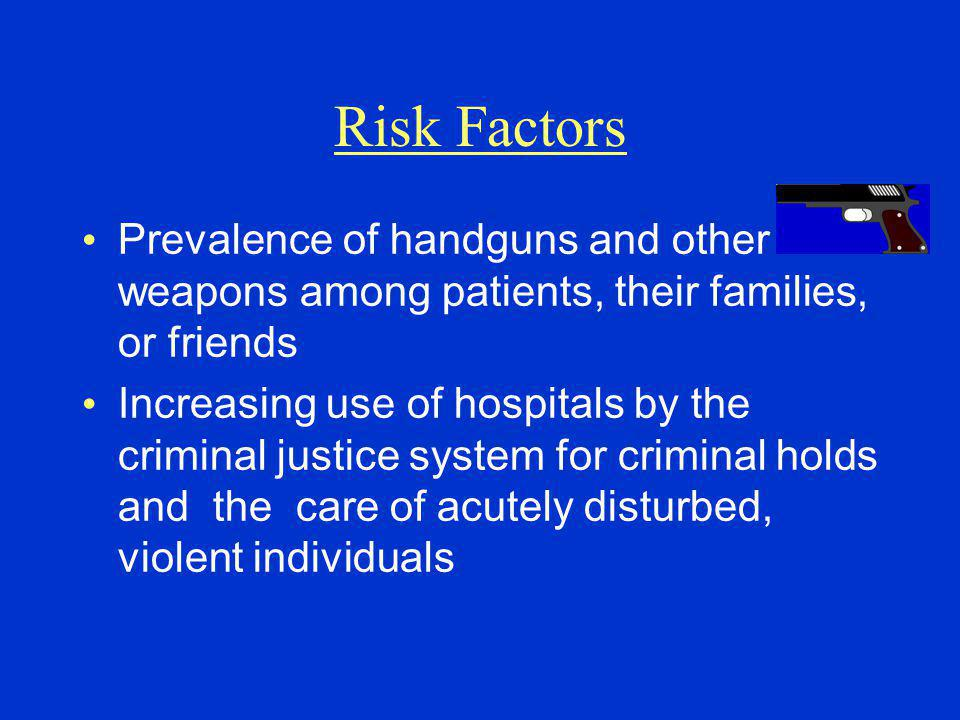 Risk Factors Prevalence of handguns and other weapons among patients, their families, or friends.