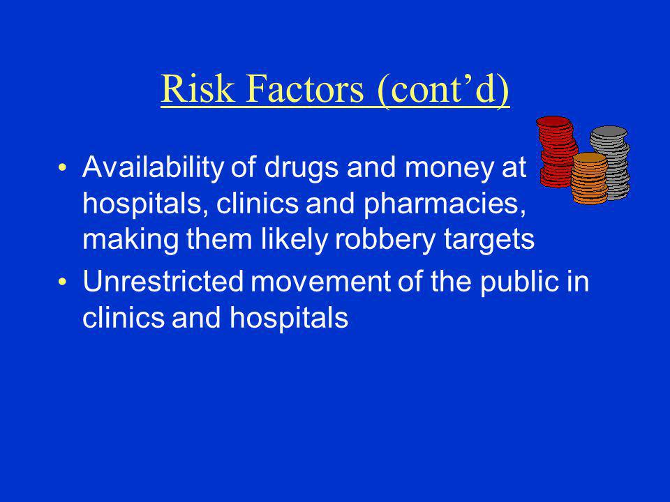 Risk Factors (cont'd) Availability of drugs and money at hospitals, clinics and pharmacies, making them likely robbery targets.