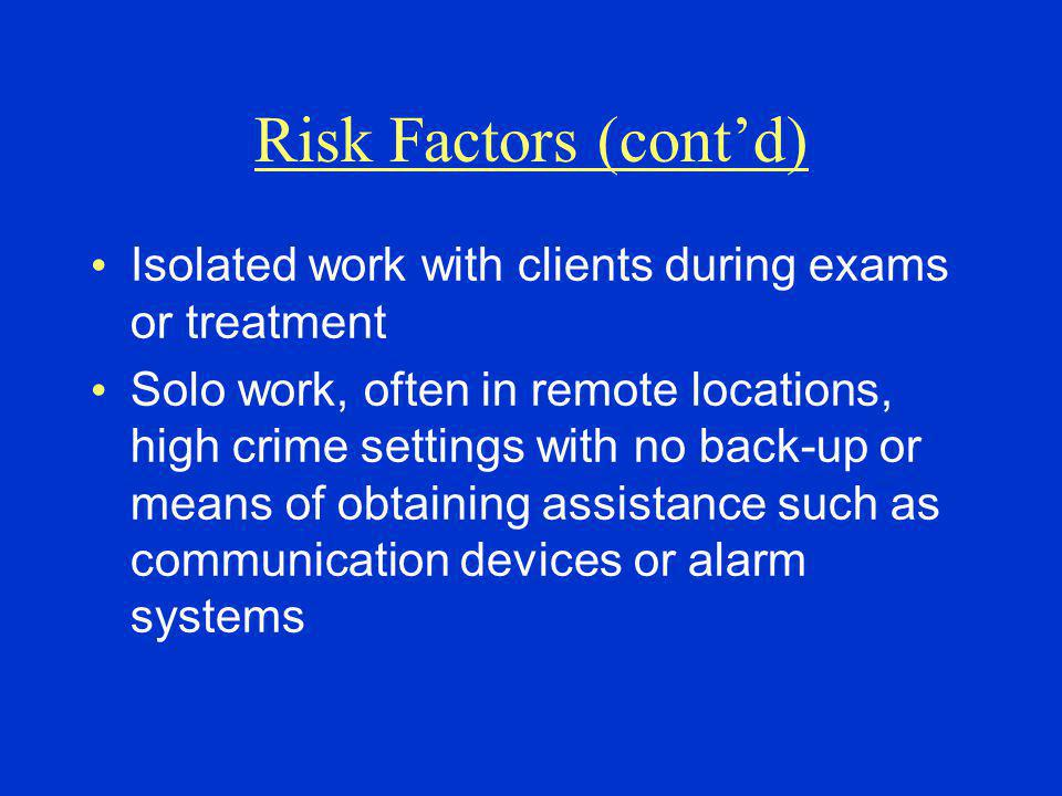 Risk Factors (cont'd) Isolated work with clients during exams or treatment.