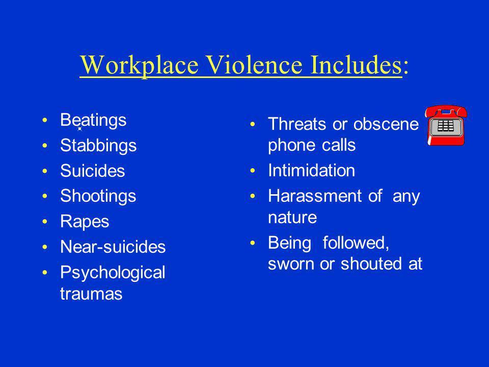 Workplace Violence Includes:
