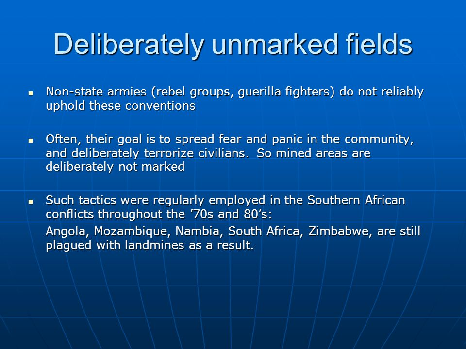 Deliberately unmarked fields