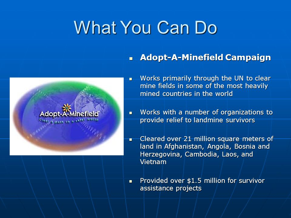 What You Can Do Adopt-A-Minefield Campaign